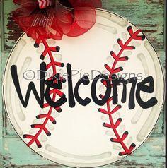 Baseball Door Hanger Sports Ball Door Hanger by dixiepiedesigns Baseball Wreaths, Baseball Signs, Sports Wreaths, Wooden Door Signs, Wooden Door Hangers, Wood Crafts, Diy Crafts, Softball Crafts, Money Making Crafts