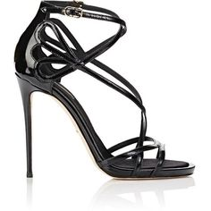 Dolce & Gabbana Women's Patent Leather Strappy Sandals (€1.000) ❤ liked on Polyvore featuring shoes, sandals, black, high heel sandals, black criss cross sandals, high heel stilettos, black stilettos and black strappy sandals