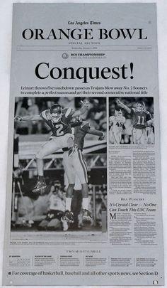 2004 BCS NATIONAL CHAMPIONSHIP ORANGE BOWL USC VS OKLAHOMA  PRINTING PLATE #USC #TrojanNation #OrangBowl #LATImes #PrintingPlate #PressPlate