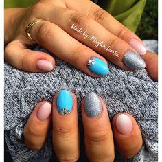 #blue #silvershine #summernails #babyboomer #MadeByPasztorDorka
