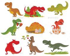 T-rex Dinosaur Vector Set.
