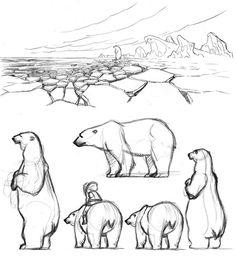 Animal Drawings Un croquis rapide, quelques recherches pour l'ours et la version couleur. Un quick sketch, some studies for the bear and the colored illustr. Animal Sketches, Animal Drawings, Drawing Sketches, Sketching, Polar Bear Drawing, Polar Bear Tattoo, Bear Sketch, Bear Art, Quick Sketch