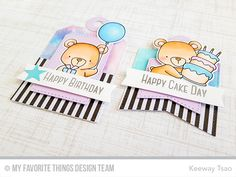 Tag Tags with bear crittters cake gifts and balloons MFT beary special birthday #mftstamps
