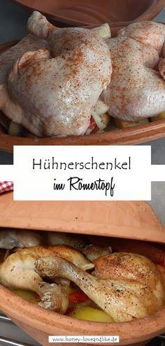 Hühnerschenkel im Römertopf mit Gemüse gleichzeitig garen. #Hühnerschenkel #Römertopf Easy Peasy, Fondue, Mad, Good Food, Party Ideas, Favorite Recipes, Breakfast, Recipes With Chicken, Kid Recipes