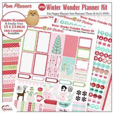 Winter Wonder Printable Planner Kit 3 PDFs by DigiScrapDelights #planneraddict #happyplanner  #december #plannerstickers #frugel #washi #woodland #fox #rabbit #snowmen, #coffee