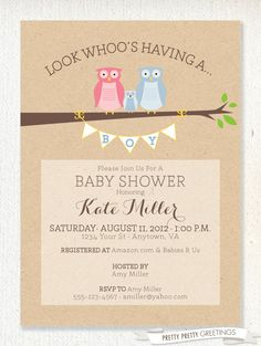 Owl themed (Boy or Girl) Baby Shower Invitation with Kraft Paper Background on Etsy