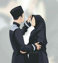 Wedding Couple Cartoon, Love Cartoon Couple, Cute Couple Art, Cute Love Cartoons, Cute Muslim Couples, Cute Couples, Romantic Anime Couples, Cover Wattpad, Muslim Pictures
