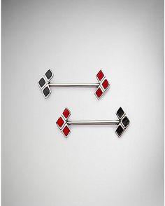 Red and Black Harley Quinn Barbell - 14 Gauge - Spencer's