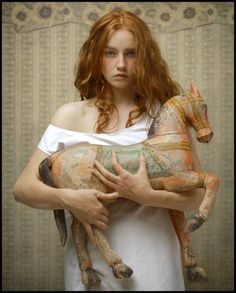 """Louis Treserras, """"Le voyage imaginaire"""" (""""The Imaginary Voyage"""") Peach And Green, Portraits, Illustrations, Ginger Hair, Shades Of Red, 50 Shades, Figure Painting, Belle Photo, Freckles"""