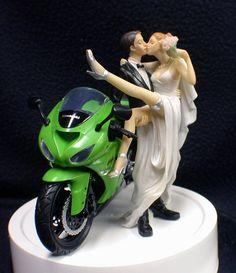 NINJA Kawasaki Motorcycle cycle Wedding Cake by YourCakeTopper