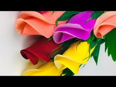 Hearty Welcome To Youten craft How to make beautiful flowers with paper In this video we are making a beautiful flower for you. Paper Flower Garlands, How To Make Paper Flowers, Large Paper Flowers, Leaf Template, Flower Template, Christmas Paper Crafts, Paper Crafts For Kids, Paper Peonies, Paper Roses