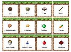 minecraft birthday party food labels free printable now with apples instead of melon