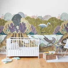 Meet the animals of the forest, living together in the spirit of good companionship. In this dreamy mural intricate details such as bugs, bones and roots, makes it possible to find something new to explore, every time you look at this repeatable design.