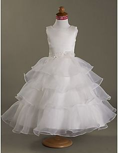 Ball Gown Square Tea-length Satin  Organza Flower Girl Dress... – USD $ 74.99