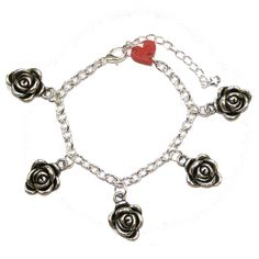 Silver Flower Bracelet - Sour Cherry | Quirky & Kitsch Jewellery & Accessories