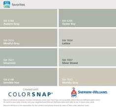 paint colors Silver Strand, Mindful gray, Oyster Pearl, Passive Gray, and Intellectual Gray - Google Search