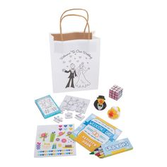 Make sure the kids' table at your wedding reception is the place to be with the help of this kids' activity set! This set includes 12 bags and 36 . Kids Wedding Favors, Kids Table Wedding, Wedding Reception Activities, Wedding Reception Favors, Kids Wedding Activities, Welcome To Our Wedding, Wedding Favor Bags, Wedding With Kids, Activities For Kids