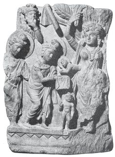 The Birth of Buddha and the Seven Steps. Schist, Gandhära, 3rd-4th century A.D. Indian Museum, Calcutta.