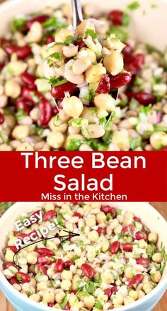 Potluck Side Dishes, Side Dishes Easy, Bean Salad Recipes, Lunch Recipes, Yummy Recipes, Pilsbury Recipes, Bean Varieties, Three Bean Salad, Three Beans