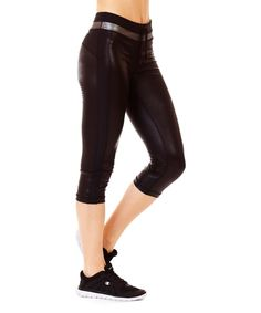 Loving this Ki Pro Performance Black Python & Silver Coated Reversible Performance Capri on #zulily! #zulilyfinds