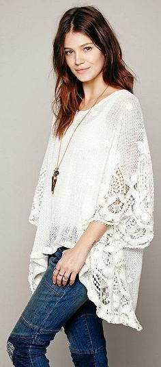 Adorable mesh floral pullover and denim fashion