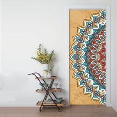 Painted Bedroom Doors, Art Room Doors, Painted Doors, Wall Art Designs, Wall Design, Door Design, Door Murals, Mural Wall Art, Mandala Painting