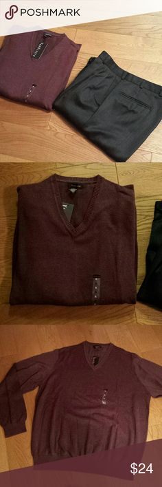 NWT Van Heusen Wine Colored Sweater sx XL Beautiful sweater, Cotton Algoon & Rayon , machine washable. Make some man happy on your Christmas  List. Van Heusen Sweaters V-Neck