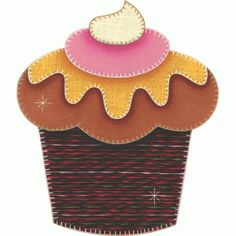 Patch collage cupcake com morango