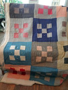 Vintage Hand Sewn Blocked Patchwork Quilt