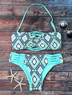 Tile Print Tube Bandeau Bikini - TURQUOISE S