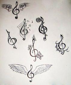Various Music Treble Clef Tattoo Designs - Tattoo Ideas Key Tattoos, Arrow Tattoos, Body Art Tattoos, Tattos, Treble Clef Tattoo, Compass Tattoo, Tattoo Musica, Alas Tattoo, Music Tattoo Designs