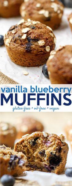 Vanilla Blueberry Muffins #healthy #oilfree #glutenfree #vegan #snack #breakfast