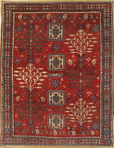 "Tree of Life Kazak rug,Southwest Caucasus,circa 1880.Measurements of the piece:7'.10""x6'.1"" (239x185 cm). | Hagop Manoyan, New York"