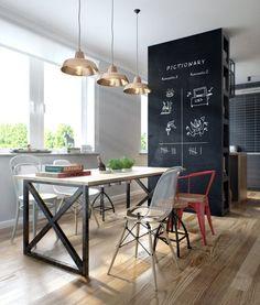 Stylizowane, charakterne wnętrze. W aranżacji użyto nowoczesnych, designerskich lamp.