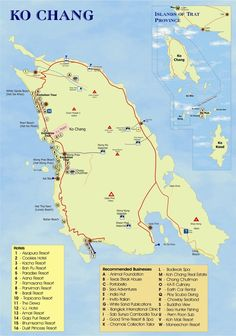 Tourist map of Koh Chang, Thailand.