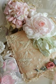 ribbonwork, silk, very pale pink carnation, white folded silk ribbon white rose, very pale green silk ribbon  Jennelise: Lace Treasures