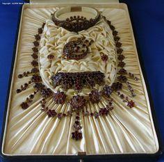 Garnet jewelry, full parure, German, circa 1880. Probably a bridal set.