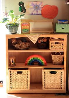 beautiful but children can't easily see what is in the baskets. The baskets would do nicer on the floor or on shelves with more height.