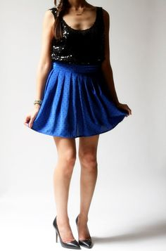 vintage 1980s skirt / 80s blue polka dot skirt / Spotty Dotty Skirt