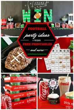 Football Party Ideas with Coke by Michelle's Party Plan-It. Including recipes, DIY party tutorials and FREE printables! Football Party Games, Football Tailgate, Football Themes, Football Season, Tailgating Gear, Football Humor, Football Birthday, Sports Party, Football Food