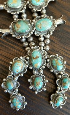 Old Pawn Antique 252 gm Squash Blossom Sterling Silver Turquoise Stone Necklace #antique