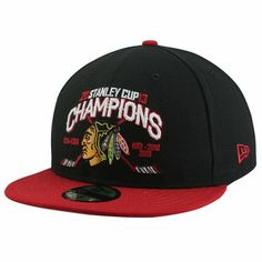 New Era Chicago Blackhawks 2013 NHL Stanley Cup Final Champions Chase 59FIFTY Fitted Hat - Black/Red