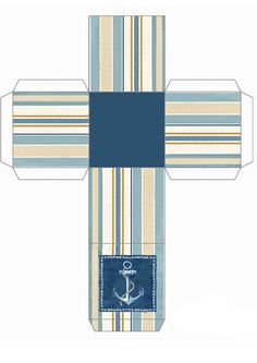 Little box to print. Shades of blue and beige with an anchor!