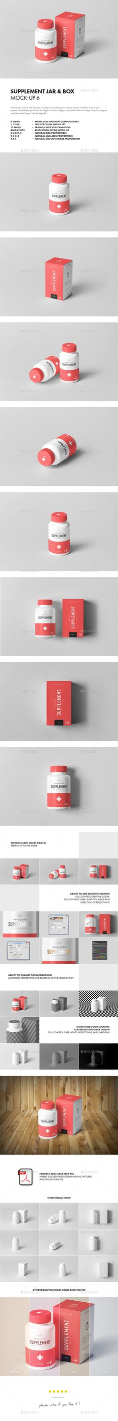 Supplement Jar & Box Mockup 6 — Photoshop PSD #health #vitamin • Available here ➝ https://graphicriver.net/item/supplement-jar-box-mockup-6/20875850?ref=pxcr