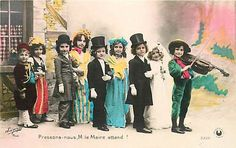Tinted Photo Children in Costume Wedding Violin K39573 | eBay