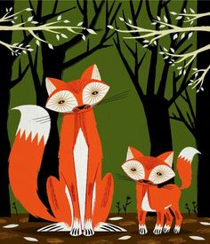 iOTA iLLUSTRATION  Two Fine Foxes  childrens by iotaillustration, $18.00