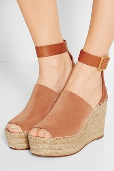 CHLOÉ - SUEDE AND LEATHER ESPADRILLE WEDGE SANDALS - TAN
