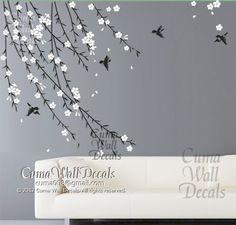 Etiquetas de la pared de flor de cerezo aves vivero árbol por cuma