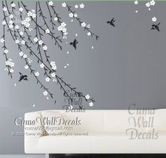 cherry blossom birds nursery wall decals tree vinyl wall decals decal children wall sticker- vine white flower birds Z151 by cuma. $47.00, via Etsy.