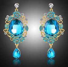 """Thompson Luxury """"Riana"""" Drop Earrings Turquoise Blue Crystal Gold Plated RRP 42,90 €"""
